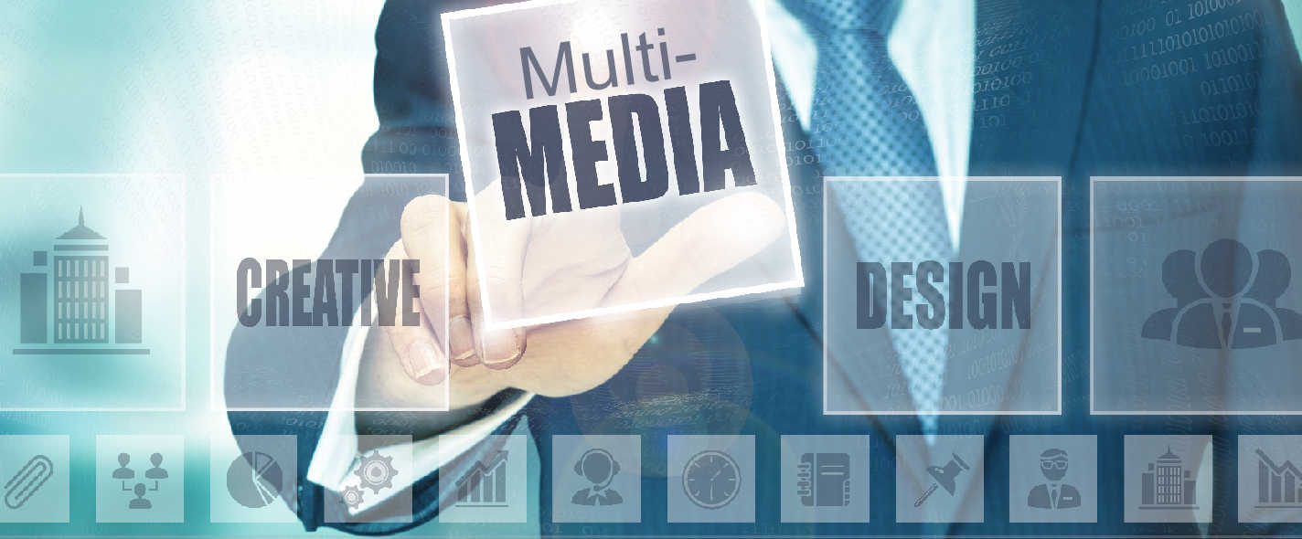 Businessman pressing a Media concept button.